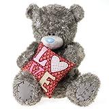 Me to You, Tatty Teddy, Grey Teddy Bear Holding A 'Love' Cushion, Sits 20