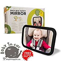 Baby Car Mirror The Largest. Clearest. Widest. +BONUS GIFTS Rear Facing | Up to 40% Larger than other mirrors | Shatterproof Glass | Fully Adjustable | Unmatched Lifetime Guarantee by Happy Life Co.
