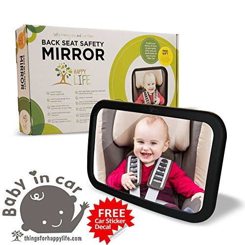 Baby Car Mirror The Largest. Clearest. Widest. +BONUS GIFTS Rear Facing | Up to 40% Larger than other mirrors | Shatterproof Glass | Fully Adjustable | Unmatched Lifetime Guarantee (Car Mirror Baby Light compare prices)