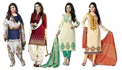 Clickedia Women's American Crepe Combo Set of 4 Salwar Suit Dupatta - Dress Material