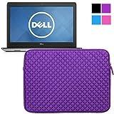 Evecase Funda para Dell Inspiron 15 Serie 3000/5000/7000 (Intel) Carcasa de neopreno diseño de diamante con cremallera, manga es resistente a los golpes y salpicaduras (Púrpura)