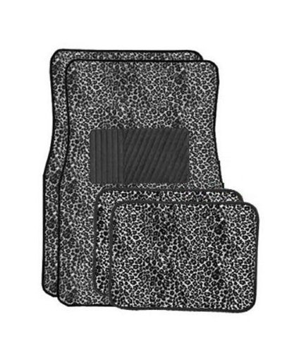 Grey Cheetah Carpet 4 Piece Car Truck SUV Floor Mats