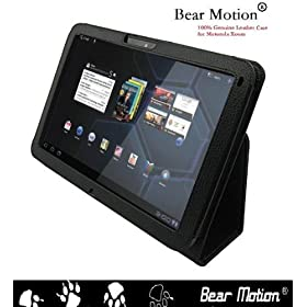Bear Motion � 100% Real Leather Case for For Motorola Xoom 10.1 inch tablet (3G & 4G WI-FI 16 GB 32 GB 64 GB) - Xoom Case Google Android 3.0 Honeycomb Black (NOT Compatible with XOOM Family and XOOM 2)