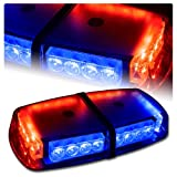 High Wattage LED Magnetic Rooftop Emergency Hazard Warning Strobe Lights - Red & Blue