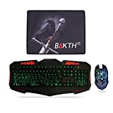 BAKTH Wired Adjustable Rainbow Backlit Gaming Keyboard and Automatic Changing Colorful Backlit Gaming Mouse + BAKTH Customized Mouse Pad as Gift