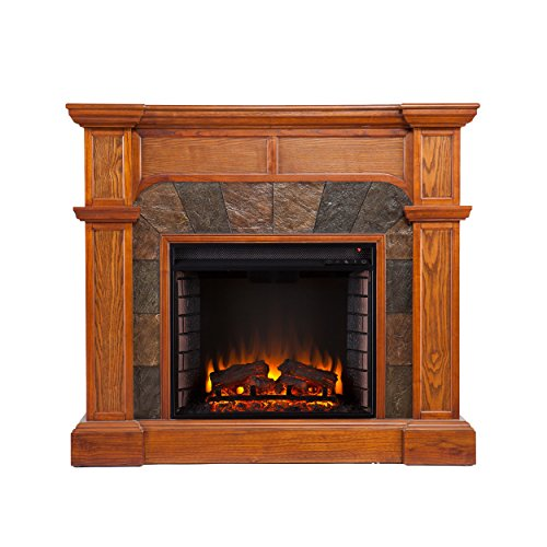 Sei Cartwright Convertible Electric Fireplace, Slate/ Mission Oak