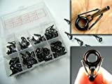 80x in Box Small Silver Tarnish Freshwater Fishing Rod Parts Tip Tops Black Stainless Repair Guides DIY Set Kits