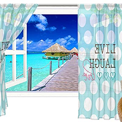 2 Pc: Elegant Voile Window Long Sheer Curtain Two Panels Polka Dots Pattern for Door Window Room Decoration