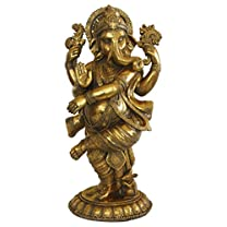 24 Inches Tall Ganesh Statue, Antique Gold Finish