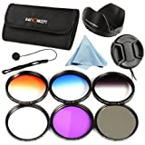 K&F Concept 72mm 6pcs Lens Accessory Filter Kit UV Protector Circular Polarizing Filter for Canon 7D 60D 70D 500D for Nikon D7000 D600 D300 D800 D7100 for Sony A77 NEX 5 DSLR Cameras - Includes Filter Kit( UV+CPL+FLD,Graduated Color Blue,Orange,Gray) + M