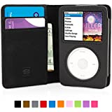 Snugg iPod Classic Case - Flip Cover & Lifetime Guarantee (Black Leather) for Apple iPod Classic