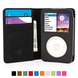 英国Snugg社 iPod Classic 用 手帳型 PUレザーケース - 生涯補償付き (ブラック)