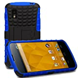 (US) KaysCase ArmorBox Heavy Duty Cover Case for Google Nexus 4 Smart Phone E960 (Blue) - New Model Fit Guaranteed