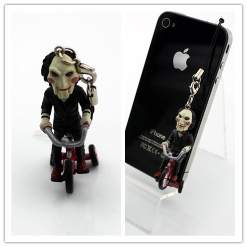 Big Dragonfly 3.5Mm Unique Scary Saw Jigsaw Puppet On Tricycle Headphone Jack Charm Anti-Dust Plug Cap For Iphone 5 Iphone 4 4S ,Ipad 2/3/4,Ipod Touch 5,Samsung Galaxy S3/S4, Note 2/3,Htc And Other 3.5Mm Headphone Jack Black
