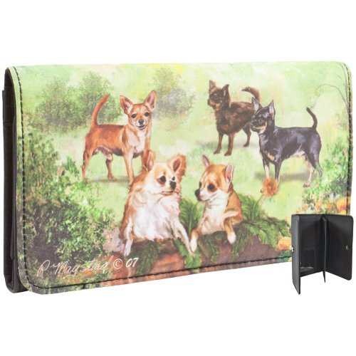 Chihuahuas in Garden Checkbook Wallet Black