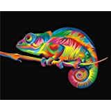 ZHENC 5D Colorful Chameleon DIY Full Square Diamond Painting Animals Embroidery Full Drill Craft Decor Cross Stitch Kits (Tamaño: 20x25CM)
