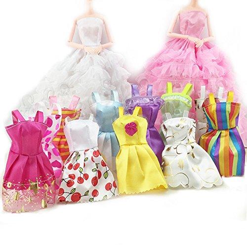 Asiv 5 sets Fatto a Mano Partito Vestiti Moda Vestire 12 pz Bella Minigonna con 10 paia di Scarpe alla Moda per Barbie Bambole