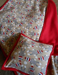 Fleece Sock Monkey Baby Crib or Lap Blanket and Pillow Case Set