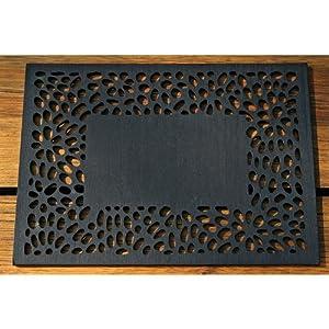 Tischset aus Holz schwarz Blütenornament 38cm: Amazon.de: Küche ...