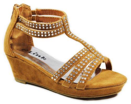 Jjf Shoes Kelly Kids Tan Rhinestone T-Strap Faux Suede Summer Comfort Platform Wedge Sandals-11