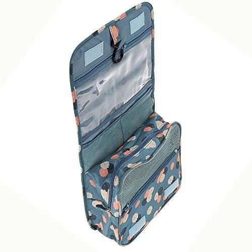 Contever® Portatile Pieghevole Sacchetto Lavata Hanging Cosmetic Borsa da Toilette Borsetta da Viaggio Cosmetico Wash Bag per le Donne la Signora Girl - Blu