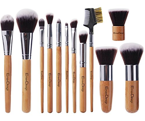 EmaxDesign 12 Pieces Makeup Brush Set Professional Bamboo Handle Premium Synthetic Kabuki Foundation Blending Blush Concealer Eye Face Liquid Powder Cream Cosmetics Brushes Kit With Bag (12 Piece Make Up Brush Set compare prices)