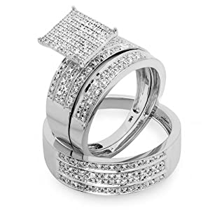 0.48 Carat (ctw) 14K White Gold Round White Diamond Men & Women's Micro Pave Engagement Ring Trio Bridal Set 1/2 CT