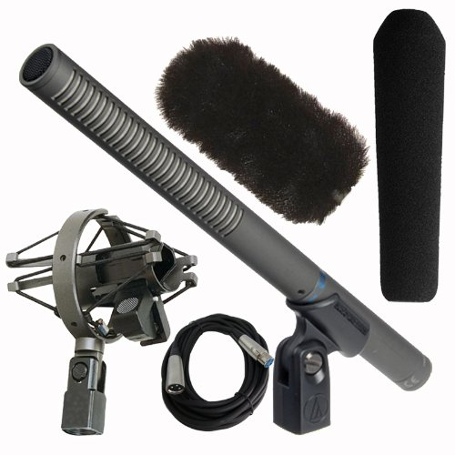 audio technica at897 shotgun microphone with at8410a suspension shock mount windtech sg 1 and. Black Bedroom Furniture Sets. Home Design Ideas