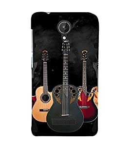 Guitar 3D Hard Polycarbonate Designer Back Case Cover for Micromax Canvas Spark Q380