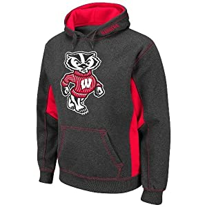 Wisconsin Badgers NCAA Turf Charcoal Pullover Hooded Sweatshirt by Colosseum