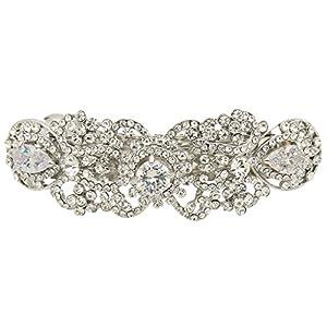 Ever Faith Silver-Tone Austrian Crystal CZ Art Deco Flower Tear Drop Hair Barrette Clip Clear N05547-1