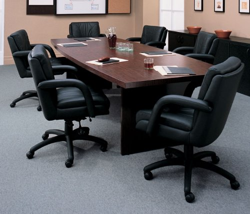 Mahogany Global Total Office Boat Shaped 10' Conference Table with Slab Base