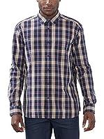 ESPRIT Camisa Hombre (Azul / Rojo)