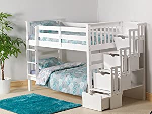 Cloudseller STAIRCASE BUNK BED WITH 3 DRAWER STORAGE IN WHITE + 2x15CM FOAM MATTRESSES