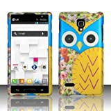 Blue Yellow Owl Hard Case Snap on Rubberized Cover for LG Optimus L9 P769 (T-Mobile)