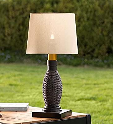 Outdoor Wicker Table Lamp with Removable Battery-Operated Torch