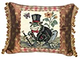 123 Creations 100-Percent Wool Frog-Gentleman Needlepoint Pillow with Fabric Trimmed, 18 W x 14 H
