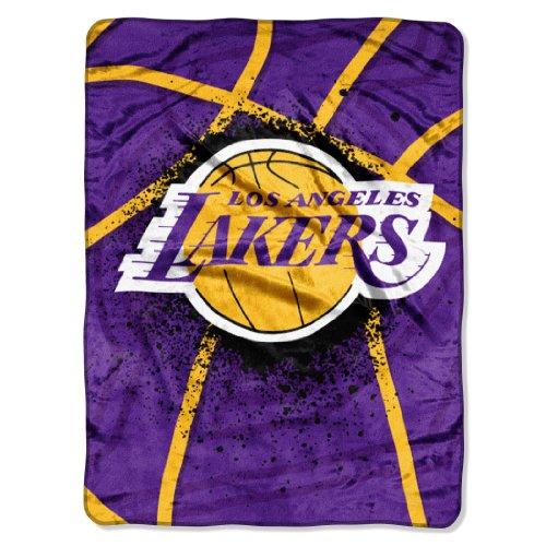 Nba Los Angeles Lakers Shadow Play Royal Plush Raschel Throw Blanket, 60X80-Inch front-854685