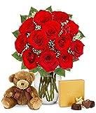 Flowers - One Dozen Red Roses with Godiva Chocolates & Bear