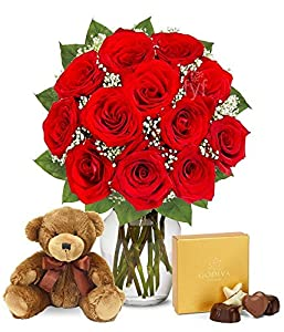 Valentine's Day Flowers - One Dozen Red Roses with Godiva Chocolates & Bear
