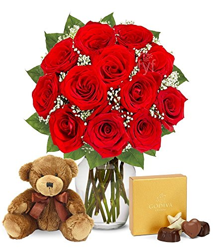 4th anniversary: One Dozen Red Roses with Godiva Chocolates & Bear