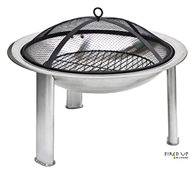 Stainless Steel Firebowl Pit Brazier With Mesh Cover