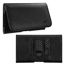 buy Avarious Executive Leather Pouch Case For Asus Zenfone 2E, 5.0-Inch, Carbon Fiber