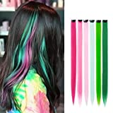 K&G HAIR 18 Pack Party Highlights Clip Hair Extensions Colored Hairpieces,6 Color Straight Hair (Green,Pink) (Color: Multi-Color-18pcs, Tamaño: 20 Inch)