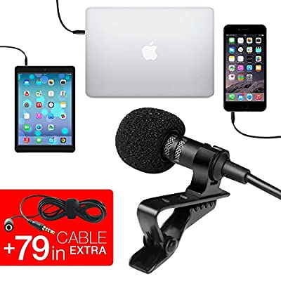 Professional Grade Lavalier Lapel Microphone ­ Omnidirectional Condenser Mic with Easy Clip On System ­ Perfect for Recording Youtube / Interview / Video Conference / Podcast / Voice Dictation / iPhone
