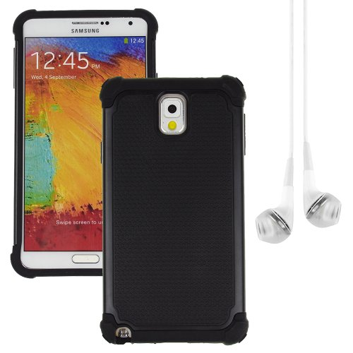 Hybrid Dual Layer Armor Defender Protective Case Cover For Samsung Galaxy Note 3 (At&T Verizon Sprint T-Mobile) + Vangoddy White Headphone (Black)