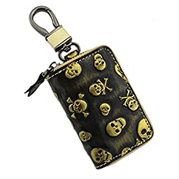 liangdongshop Unisex Genuine Leather Skull Pattern Car Key Chain Case Coin Purse with Hook(Gold)