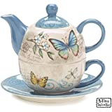 Butterfly Garden Duo Teapot with Teapot,Teacup and Saucer
