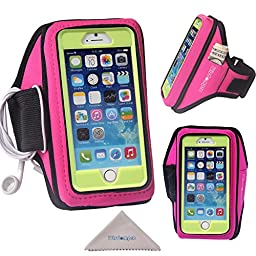 iPhone 6, 6s Armband, Galaxy S7, S6, S5 Sports Armband for OtterBox Defender or Commuter Series Or Lifeproof Cases by Wisdompro [Key Holder & Headphones Organizer] - Hot Pink (Medium / Large Size)