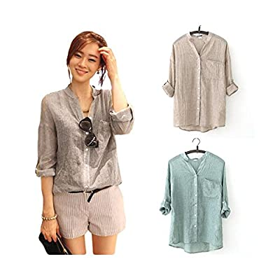Zhuhaixmy Women's Button Loose 3/4 Sleeve Soft Cotton Linen Casual Shirts Blouse Tops